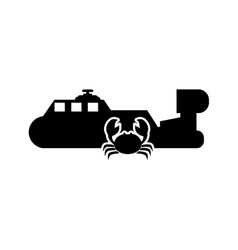 ship and crab icon vector image vector image