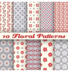 10 Floral fashionable seamless patterns tiling vector image vector image