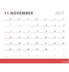 calendar planner 2017 november week starts sunday vector image