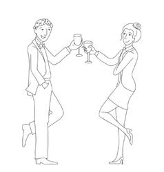 Couple clink glasses outline doodle vector