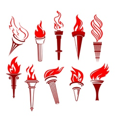 flaming torchs vector image vector image