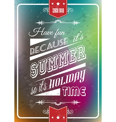 Happy summer poster with a colorful background vector image vector image