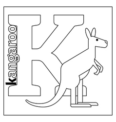 Kangaroo letter K coloring page vector image vector image
