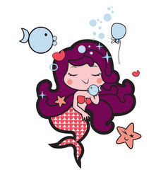 little marmaid playing with fish vector image