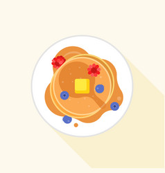 pancake icon it aerial view with maple syrup vector image vector image