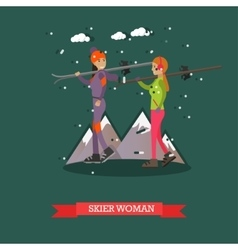 skiers women in flat design vector image vector image