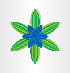 blue flower with green leaves vector image
