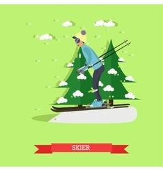skier in flat design vector image vector image