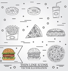 thin line icon donuts pizza fries soda hot dog and vector image vector image