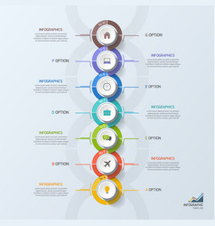 timeline business vertical infographic template 7 vector image vector image