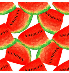 watermelon seamless watercolor pattern juicy vector image vector image
