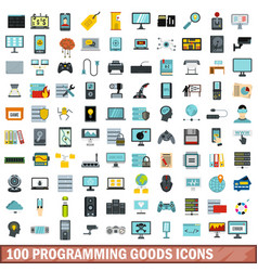 100 programming goods icons set flat style vector image
