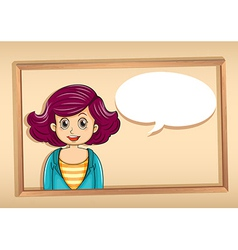 A frame with a woman having an empty callout vector