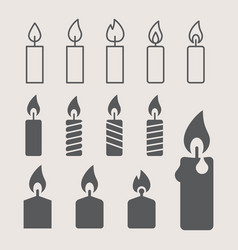 A lit candle icons set vector