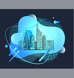 abstract city metropolis with high skyscrapers vector image