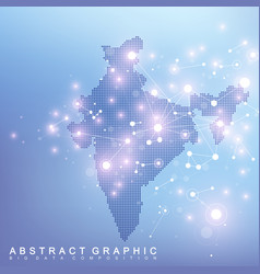 Abstract map of india country global network vector
