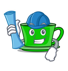Architect green tea character cartoon vector