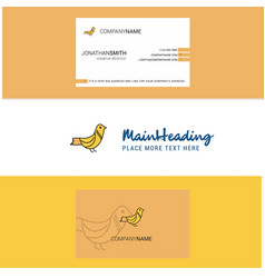 beautiful sparrow logo and business card vertical vector image