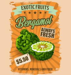 bergamot fruit with price tag grocery store poster vector image