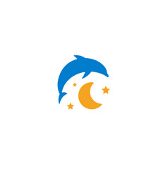 blue dolphin yellow moon and starry sky logo vector image