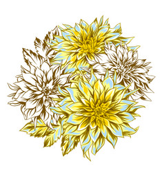 Bouquet with fluffy yellow dahlias vector