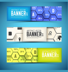 business mosaic horizontal banners vector image