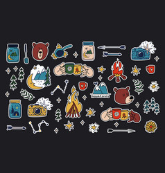 Camping stickers set hand drawn collection vector