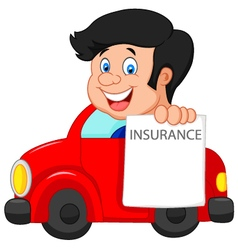 Cartoon little boy notify to join insurance vector
