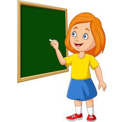 cartoon schoolgirl writing on blackboard vector image