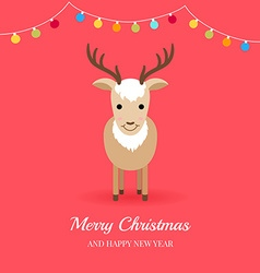 Christmas card with cute deer and garlands vector