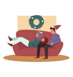 christmas holiday couple on couch living room and vector image