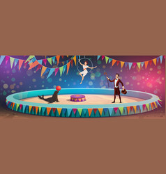 circus acrobats and animal juggling show vector image