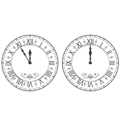 Clock with Roman numerals New Year midnight 12 vector image