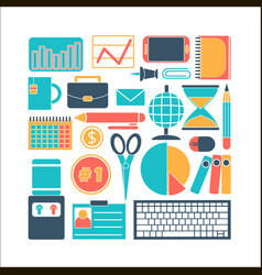 Collection of colors of business elements office vector