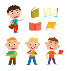 color set pretty boys stand with books and vector image