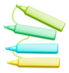 Colored Highlighter Pens Set vector image