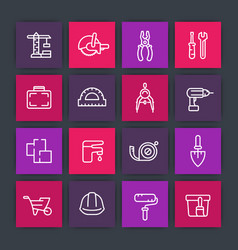 Construction and renovation line icons set vector