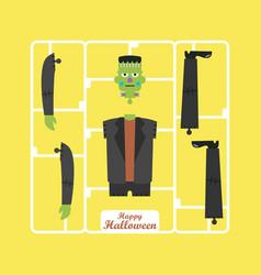 Corpse green zombie halloween character vector