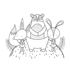 cute bear rabbit and fox in the landscape vector image