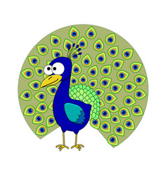 cute cartoon peacock vector image