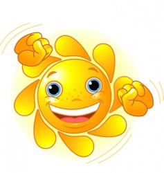 Cute dancing sun vector