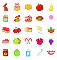 dessert icons set cartoon style vector image
