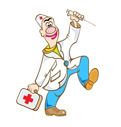 Doctor with bag and injector vector