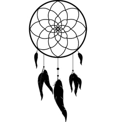 Dreamcatcher black monochrome vector image