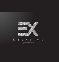 Ex e x letter logo with zebra lines texture vector