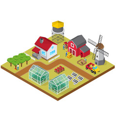Farmyard isometric game model icon vector