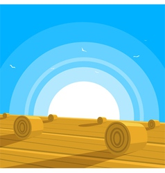 Field with bales of hay vector