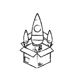 Figure box with technology rocket out side vector