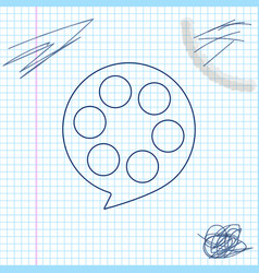 film reel line sketch icon isolated on white vector image