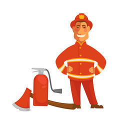 fireman or firefighter uniform with fire vector image